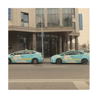 Taxi Cabs in Vilnius Lithuania Wood Prints