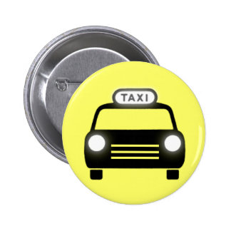 Taxi in Black White Pinback Buttons