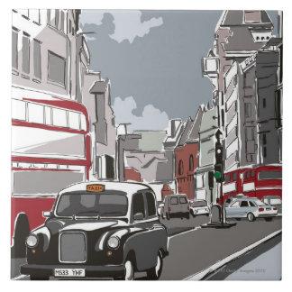 Taxi in London Ceramic Tile