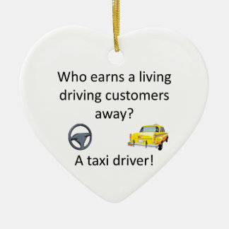 Taxi Joke Ceramic Heart Decoration