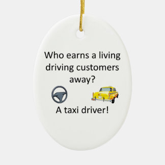 Taxi Joke Ceramic Oval Decoration