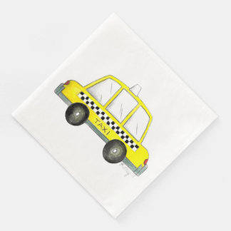 Taxi NYC Yellow New York City Checkered Cab Car Disposable Serviette