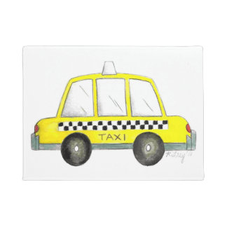 Taxi NYC Yellow New York City Checkered Cab Car Doormat