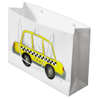 Taxi NYC Yellow New York City Checkered Cab Car Large Gift Bag