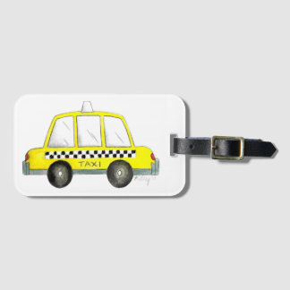 Taxi NYC Yellow New York City Checkered Cab Car Luggage Tag