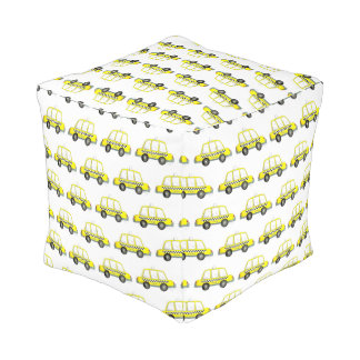 Taxi NYC Yellow New York City Checkered Cab Car Pouf