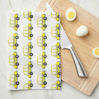 Taxi NYC Yellow New York City Checkered Cab Car Tea Towel