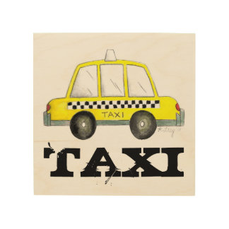 Taxi NYC Yellow New York City Checkered Cab Car Wood Wall Decor