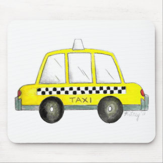 Taxi NYC Yellow New York City Checkered Cab Gift Mouse Pad