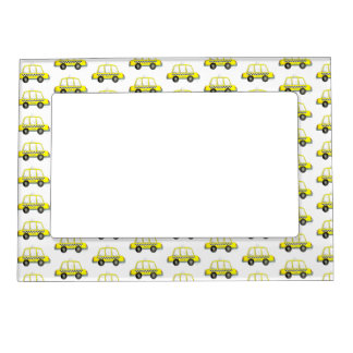 Taxi NYC Yellow New York City Checkered Cab Print Magnetic Picture Frame