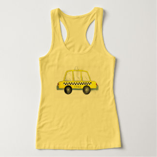Taxi NYC Yellow New York City Checkered Cab Print Singlet