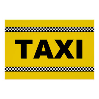 TAXI Sign POSTER Classic Yellow Black and White