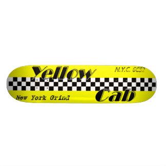 Taxi! Yellow cab checker design skateboard