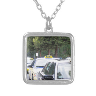 Taxis Wait in a Row for Passengers Silver Plated Necklace