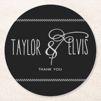 Taylor And Elvis Thank You Coaster in Black