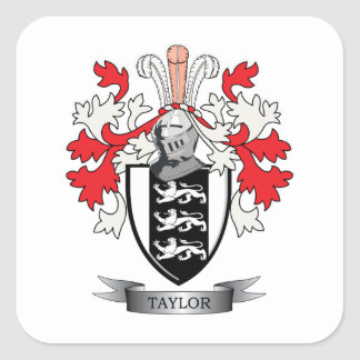 Taylor Family Crest Coat of Arms Square Sticker