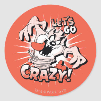 "TAZ™ ""Let's Go Crazy!"" Halftone Classic Round Sticker"