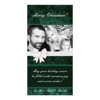 {TBA} 4x8 Teal Floral Bow PHOTO Christmas Card Photo Cards