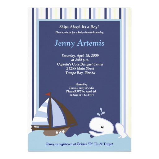 {TBA} Ahoy Mate Sailboat Boat Nautical Baby Shower Custom Announcements