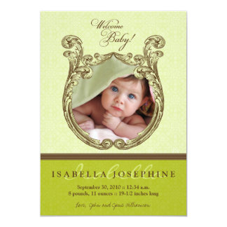 {TBA} Antique Frame Baby Birth Announcement (lime)