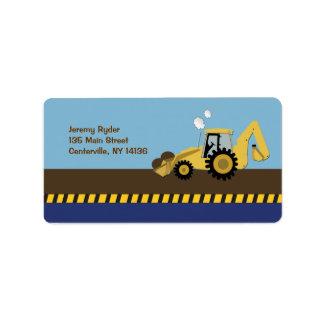 {TBA} Construction Zone Backhoe Return Address Address Label