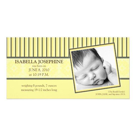{TBA} Damask & Stripes Lemon  Birth Announcement Card