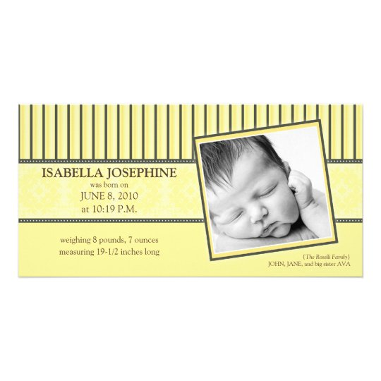 {TBA} Damask & Stripes Lemon  Birth Announcement Personalised Photo Card