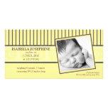 {TBA} Damask & Stripes Lemon  Birth Announcement Personalised Photo Card