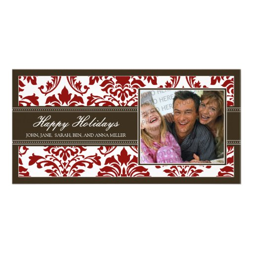 {TBA} Elegant Brown & Red Damask Happy Holidays Photo Card
