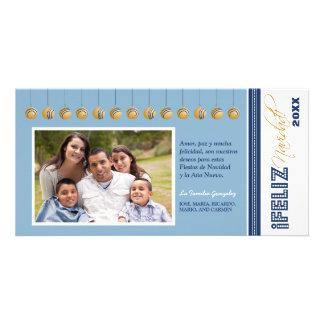 {TBA} Feliz Navidad Holiday Photocard (blue) Customized Photo Card