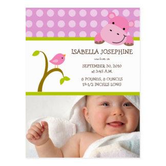 {TBA} Hippo & Birdie Baby Girl Birth Announcement Postcard