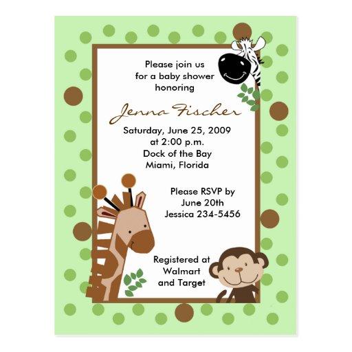 {TBA} Jungle Adventure Safari Baby Shower Post Cards