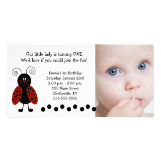 {TBA} Little Ladybug Photo Birthday / Birth Photo Cards