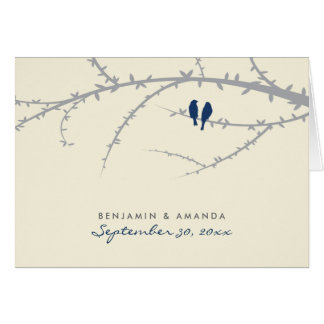 {TBA} Love Birds Custom Thank You Card (navy blue)
