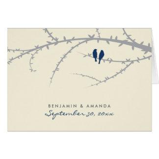 {TBA} Love Birds Custom Thank You Card (navy blue)