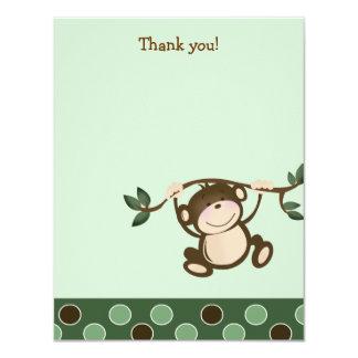 """{TBA} MONKEY PLAY Monkeys Flat Thank you note 4.25"""" X 5.5"""" Invitation Card"""