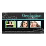 {TBA} Mystic Goth Graduation Announcement (aqua) Photo Greeting Card