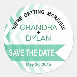 ::TBA:: Ombre Chevron Style! Save the Date emerald Round Sticker