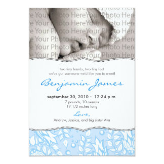 {TBA} Precious Floral Birth Announcement (blue)