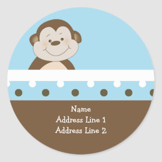 {TBA} Round Address Labels Blue Bambino Monkey Round Sticker