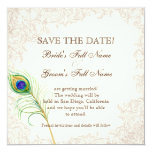(TBA) Save the Date - Vintage Peacock & Etchings 13 Cm X 13 Cm Square Invitation Card