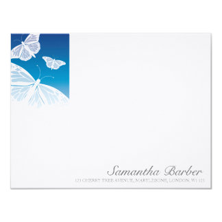 """TBA:  White Butterflies Correspondence Cards 4.25"""" X 5.5"""" Invitation Card"""