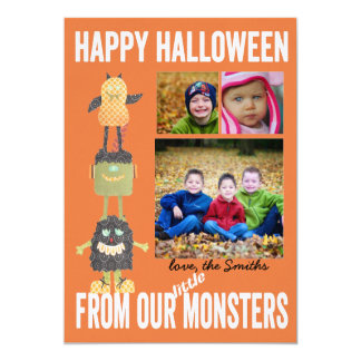 TBO- Halloween  little Monsters 3 photo Card 13 Cm X 18 Cm Invitation Card
