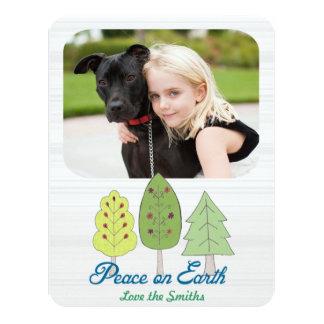 "TBO- Peace On Earth Holiday photo Card 4.25"" X 5.5"" Invitation Card"