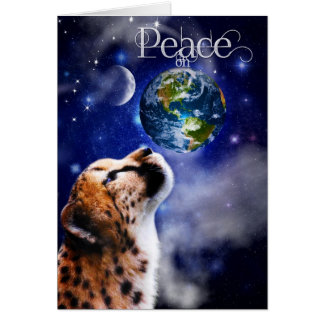 TCWC - Christmas Peace on Earth Cheetah Greeting Card
