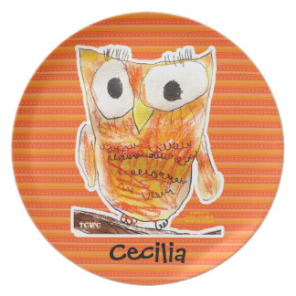 TCWC Designer Owl in Orange | Youth Art Project Party Plate