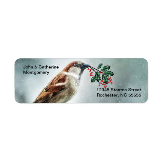 TCWC - Holiday House Sparrow in the Snow Return Address Label