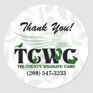 TCWC - Logo Green Thank You Stickers
