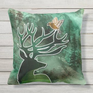 "TCWC - ""Woodland Harmony"" Green Deer and Birds Outdoor Cushion"