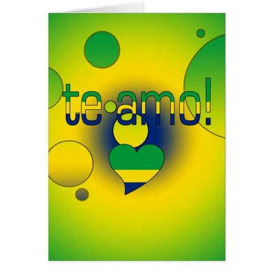 Te Amo! Brazil Flag Colours Pop Art Card
